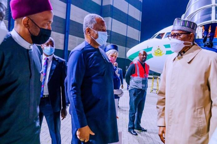 President Buhari arrives London for Education summit and medical checkup (photos)