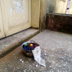 'Pot of sacrifice' in front of office in Michael Okpara University Umudike, Abia State (photos)