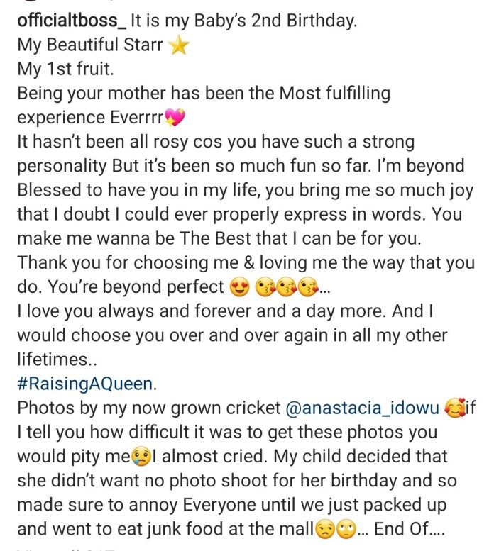 Tboss celebrates daughter,  Starr, as she turns 2
