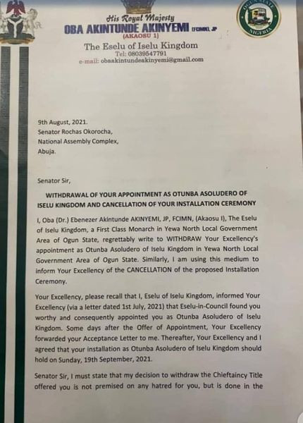 Ogun traditional ruler withdraws Rochas Okorocha