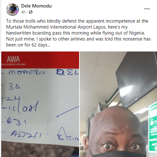I was given handwritten boarding pass and it has been on for 62 days - Dele Momodu slams those