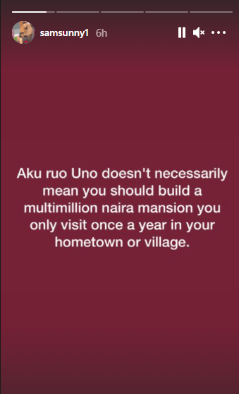 If you are not looking to run for politics, you have no business building a multi-million naira mansion in your hometown - Actor Sam Nnabuike
