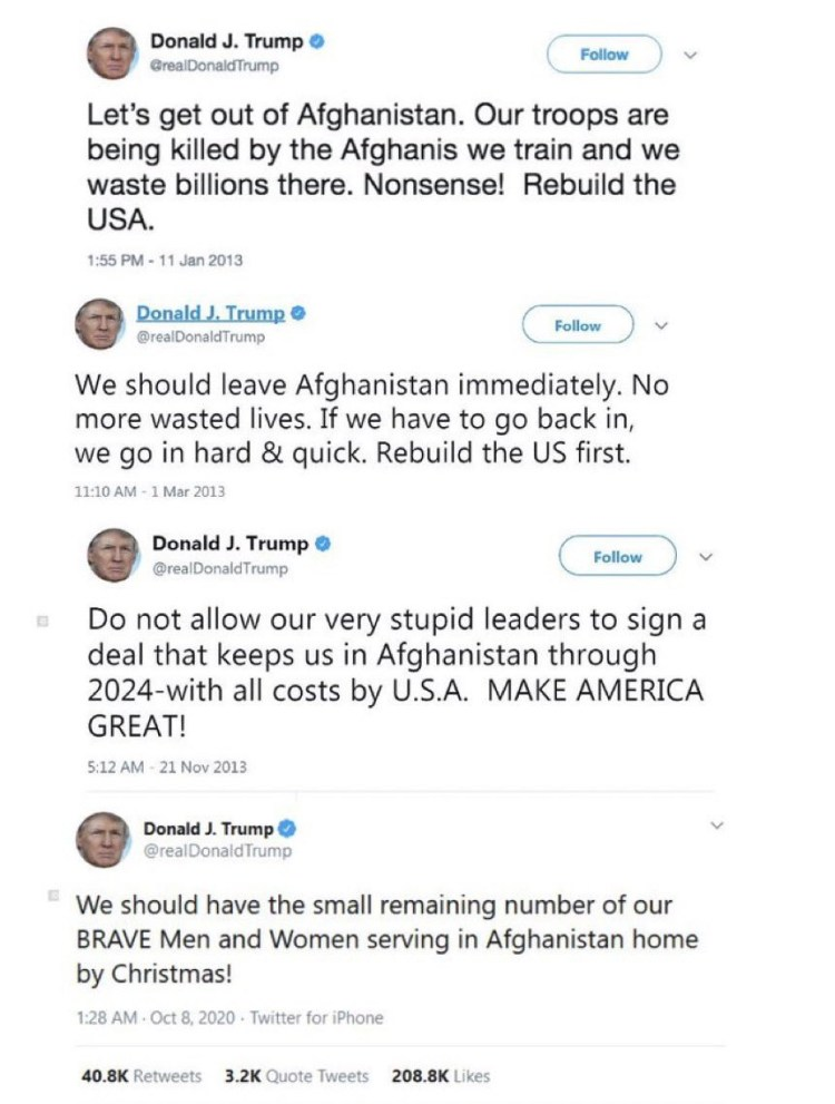 Throwback tweets of Donald Trump supporting Afghanistan withdrawal resurfaces as Joe Biden receives heavy criticism home & abroad over Taliban takeover