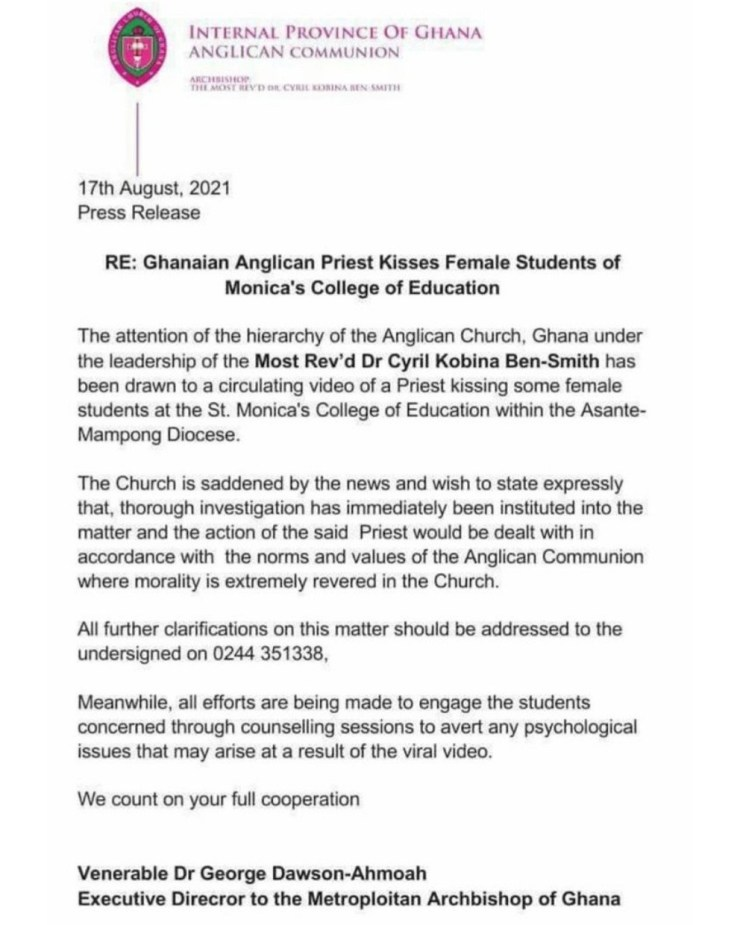 Anglican Church releases statement after a Priest of the Church kissed 3 female students of St. Monica College on the mouth