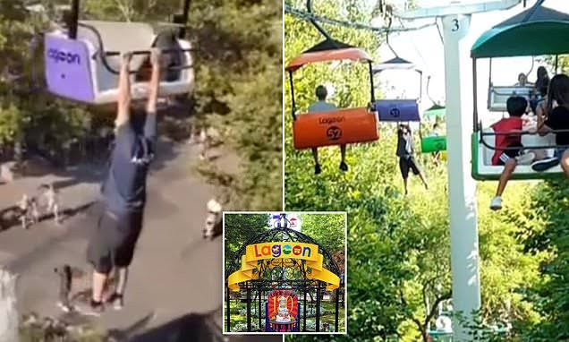 Man filmed dangling from theme park ride dies after falling 50ft in front of crowd