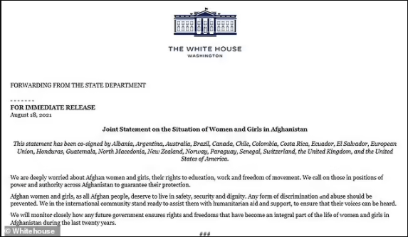 White House signs joint statement with 19 other nations asking the Taliban to protect women and girls?