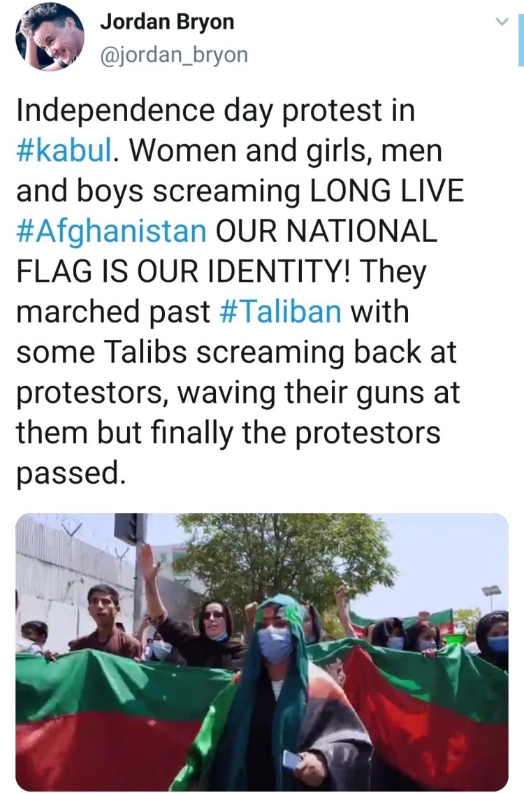 Afghans protest against Taliban rule by marching through street with 200m Afghan flag (videos)