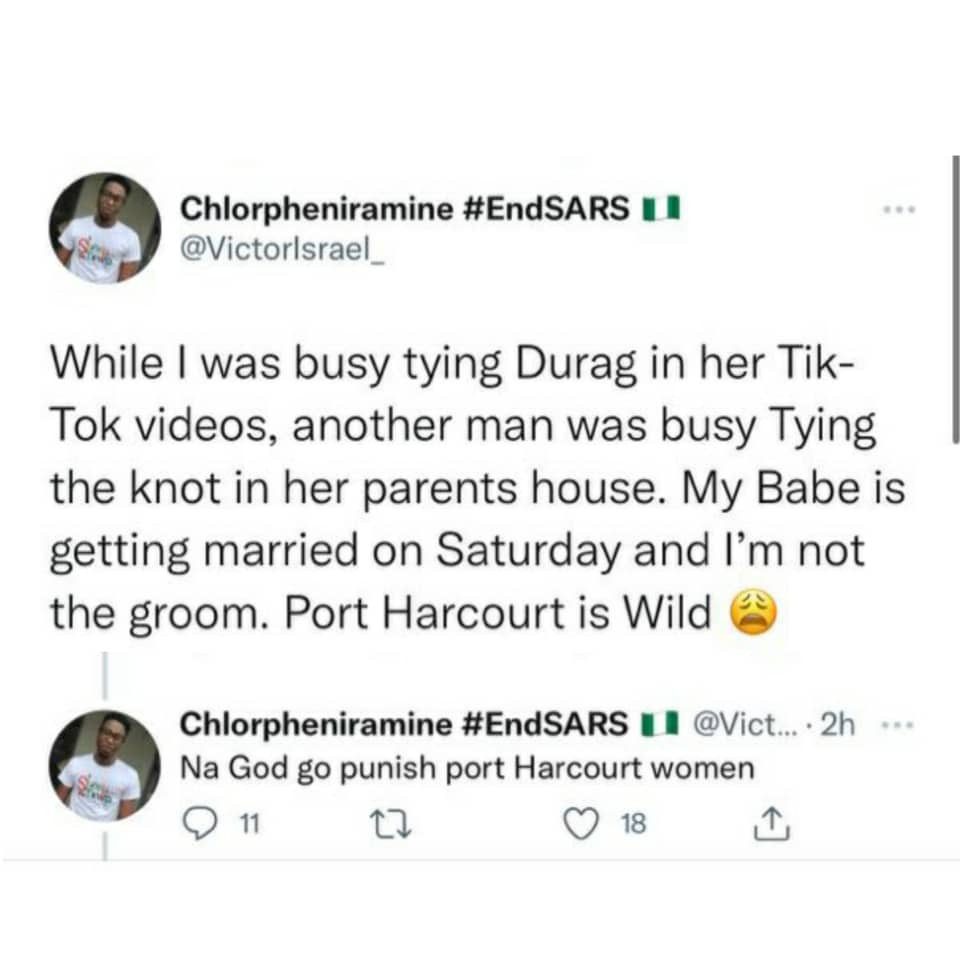 """""""God go puni*sh Port Harcourt women'""""- Nigerian man laments after discovering his girlfriend is set to wed another man"""
