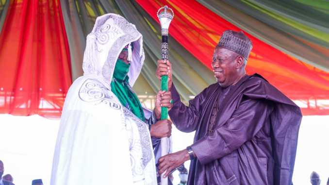 Ganduje presents staff of office to Buhari?s in-law as Emir of Bichi 1