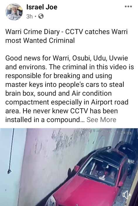 Notorious criminal who allegedly uses charms caught on camera breaking into cars in Warri (video)