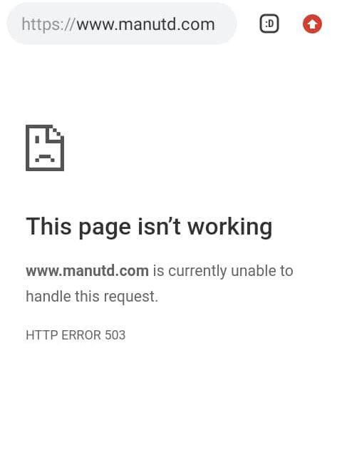 Manchester United website crashes