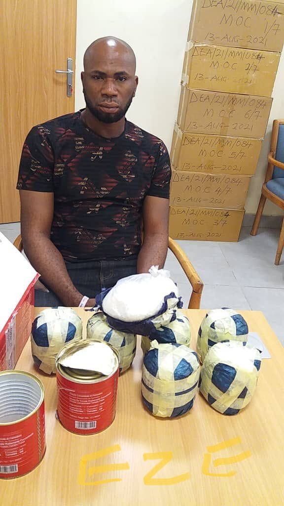 Drug dealer arrested as NDLEA intercepts 4.15 kilograms of meth concealed in tins of tomato at Lagos airport