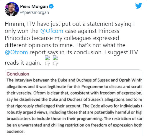Piers Morgan responds to ITV after the TV station said it won