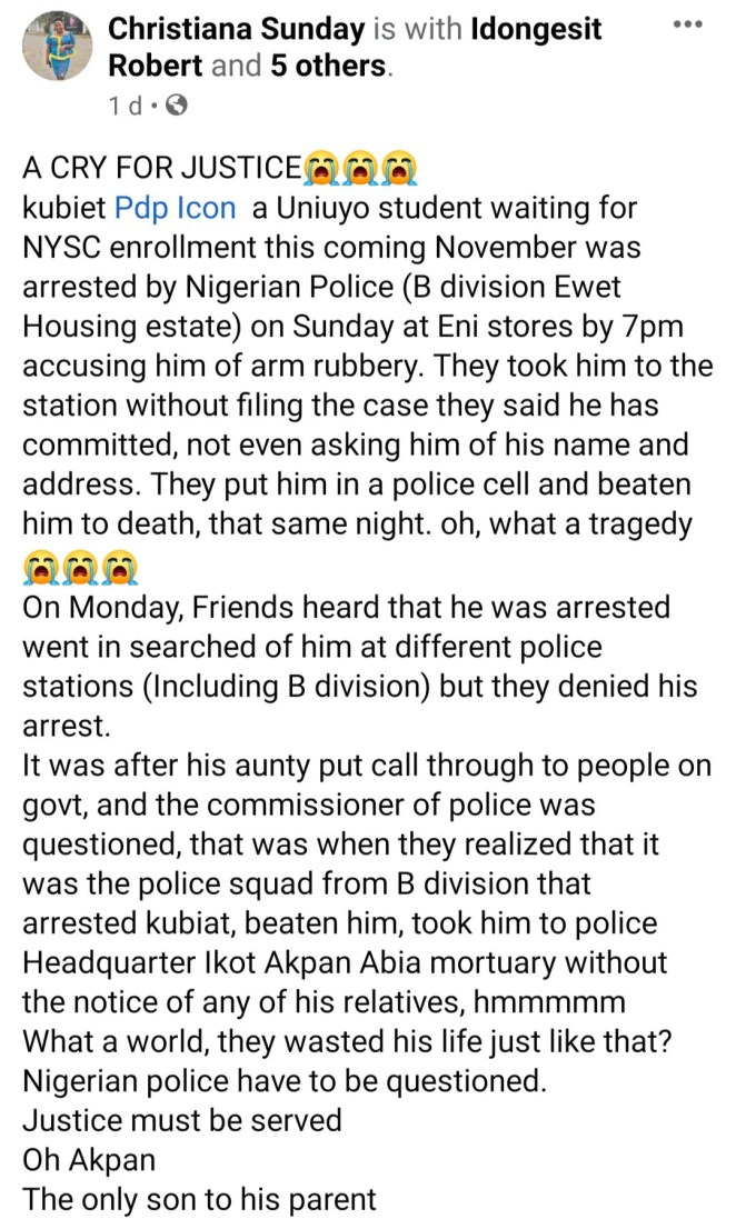 UNIUYO graduate dies in police custody after he was allegedly wrongfully arrested and beaten to death by Akwa Ibom police