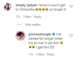 Actress Princess Shyngle celebrates second month of not having s3x