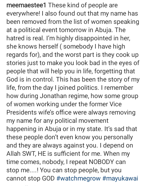 """""""The hatred is real"""" - Kaduna politician, Munira Suleiman Tanimu reveals a woman removed her name from list of women speaking at a political event"""