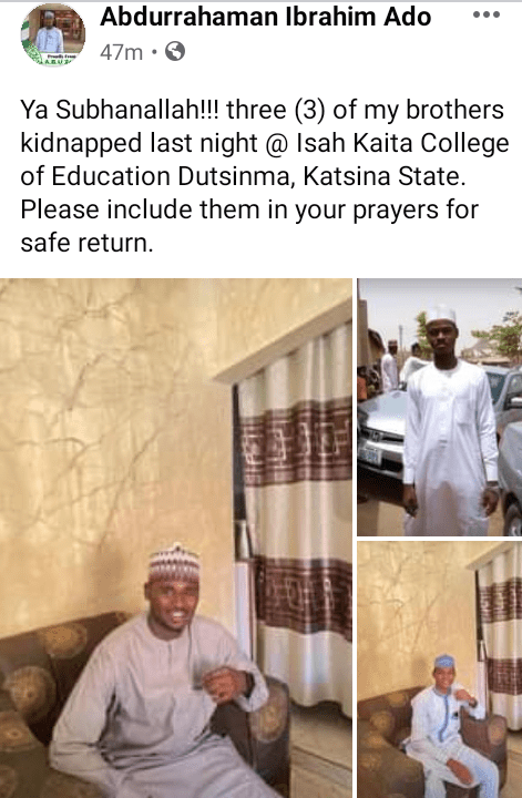 Armed bandits invade college of education in Katsina, abduct deputy provost