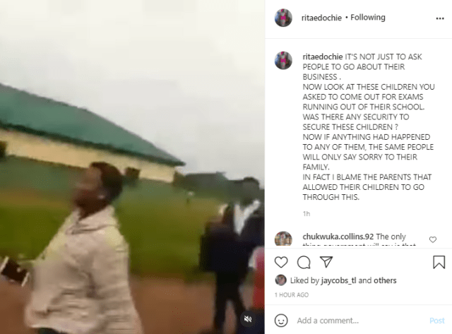 Actress Rita Edochie faults Imo state government for allowing students go to school for their examination despite IPOB