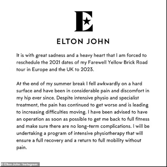Elton John postpones his farewell tour for two years as he awaits hip surgery after fall