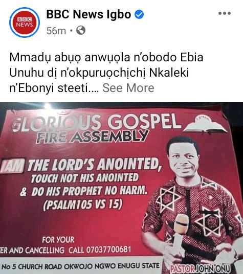 Police stray bullet allegedly kills pastor during morning devotion in Ebonyi