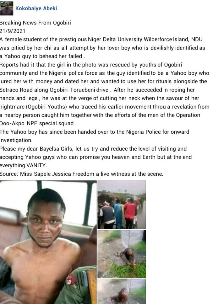 ?Suspected Yahoo boy attempts to behead his girlfriend for money rituals in Bayelsa (photos)