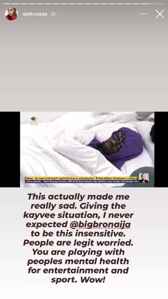 Saga's sister slams show organizers for 'playing' with housemates mental health after her brother broke down in tears following Nini's disappearance