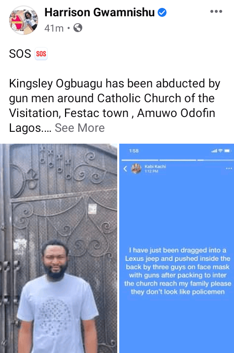 Masked gunmen reportedly abduct worshipper in Lagos