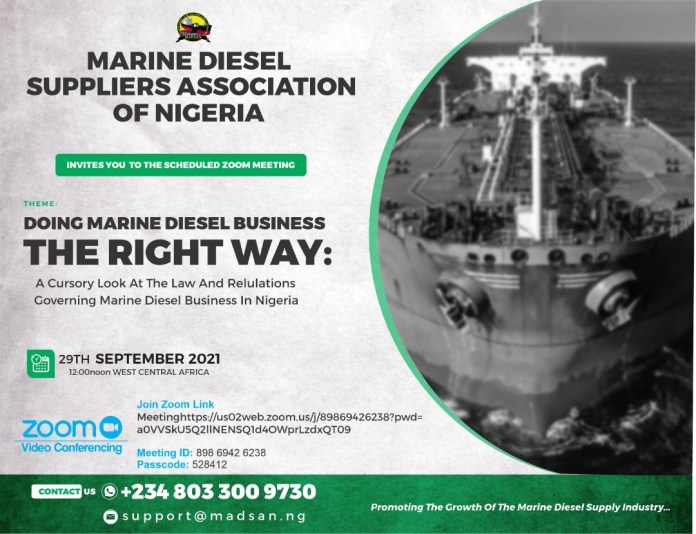 Marine Diesel Suppliers Association Of Nigeria Invites You To its Scheduled Zoom Meeting