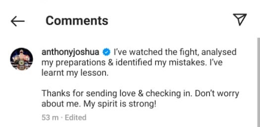 Anthony Joshua admits he has ?learnt his lesson? from Oleksandr Usyk loss