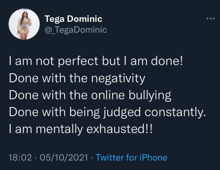 BBNaija star, Tega Dominic, deactivates IG handle hours after saying she was done with online bullying