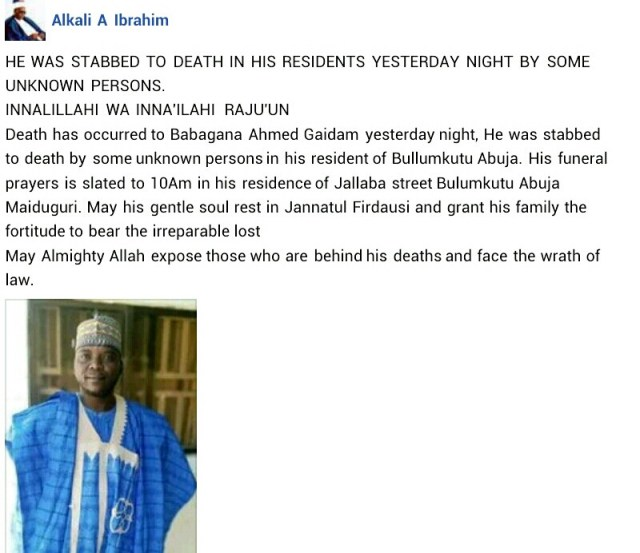 Panic as unknown assailants stab head teacher to death, kill shop owner and dumped his corpse inside refrigerator in Maiduguri