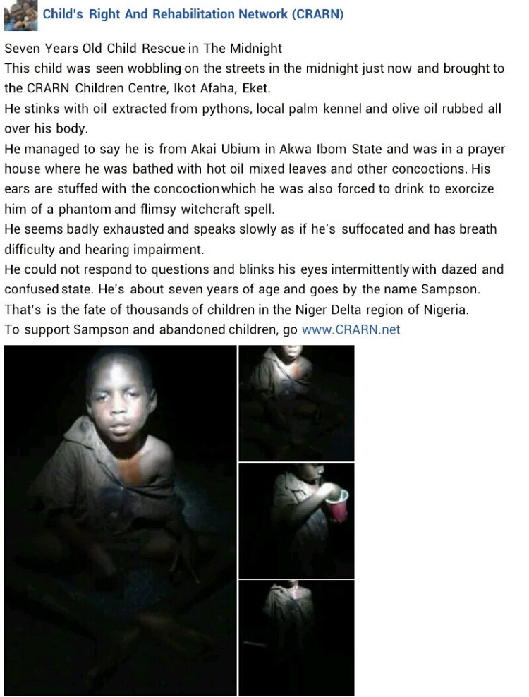 7-year-old boy abandoned over alleged witchcraft rescued in Akwa Ibom