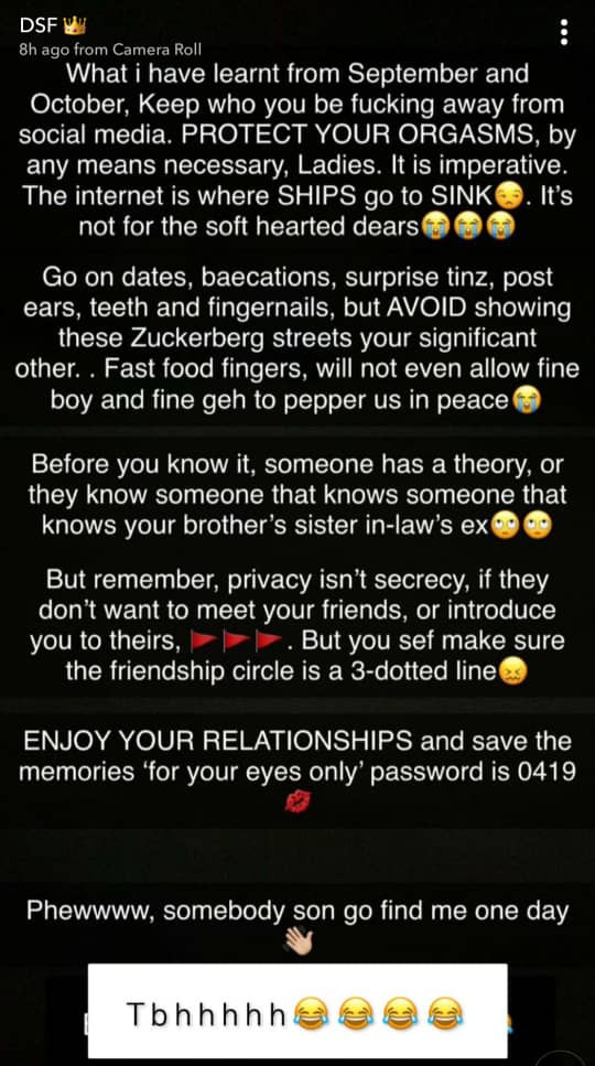 Avoid showing these Zuckerberg streets your significant other. The internet is where ships go to sink - Actress Dorcas Fapson advises ladies