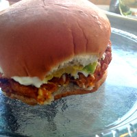 Smoked Sweet Potato Burgers with Garlic Yogurt and Avocado
