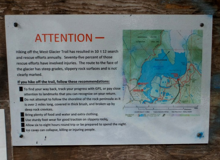 04 West Glacier Trail Mendenhall Glacier Warning Sign