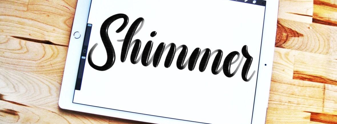 Shimmer lettering brush for Procreate app