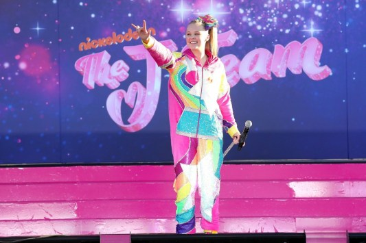 JoJo Siwa performing at the drive-in premiere of The J Team