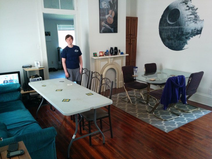 We rearranged the house to accommodate more players.
