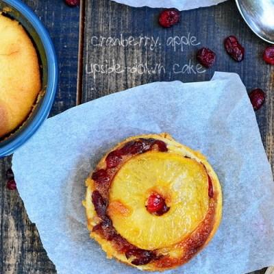 prajitura intoarsa cu mere si cranberry