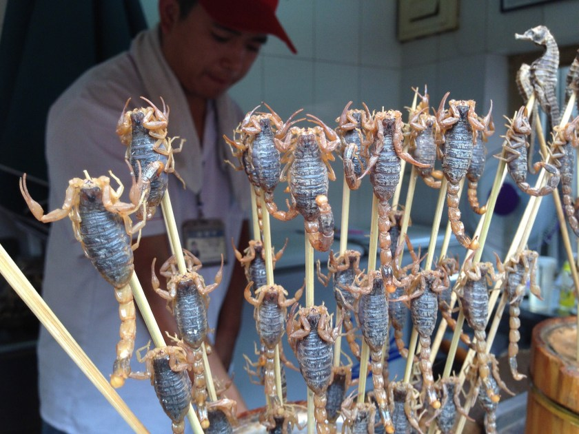 Live Scorpions and Seahorses wriggling on a Stick