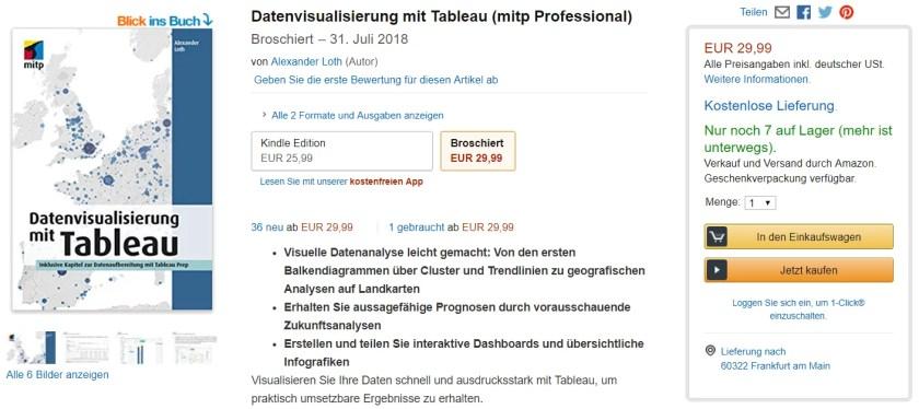 Das erste deutschsprachige Tableau-Buch ist auch bei Amazon erhältlich