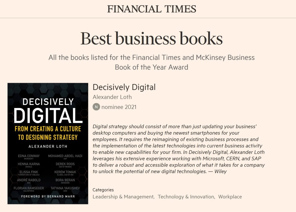 Decisively Digital is nominated for the Financial Times and McKinsey Business Book of the Year Award 2021