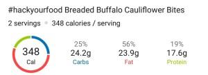 Nutrition - Breaded Buffalo Cauliflower Bites