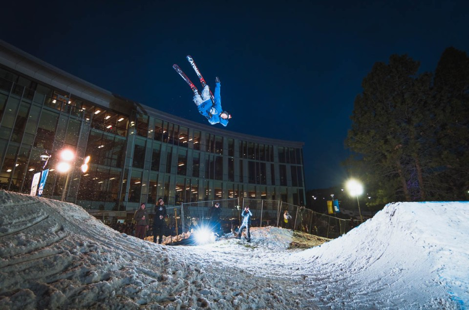 A skier hits a jump at Thompson Rivers University