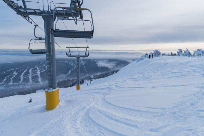 The end of a powder day at Sun Peaks Resort