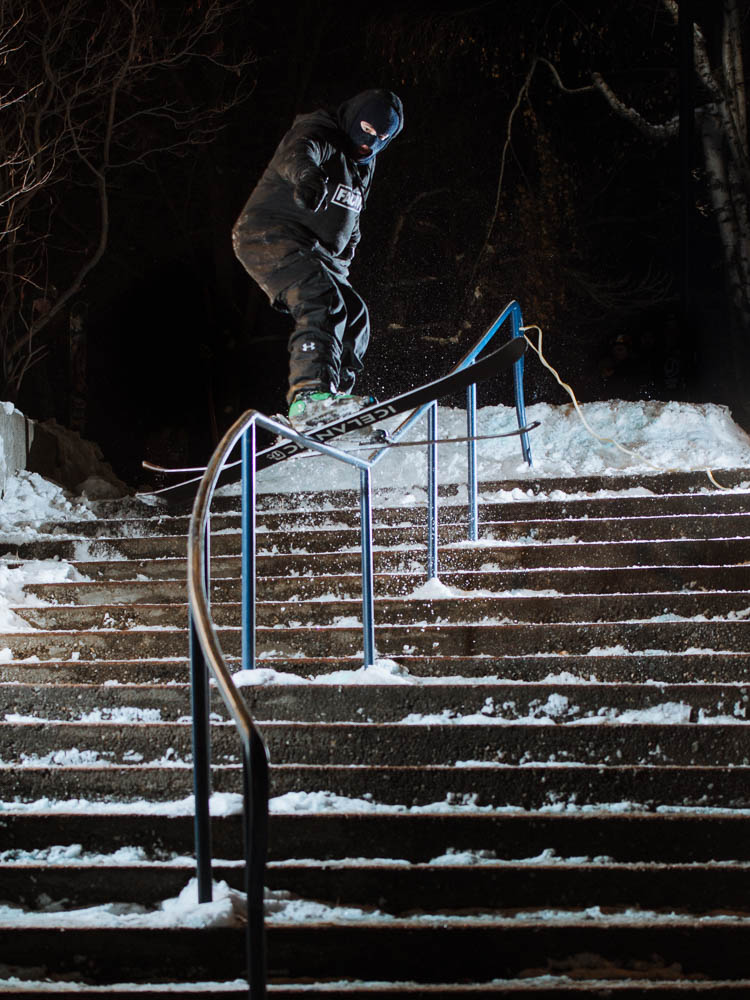 A skier grinds a rail in Kamloops.