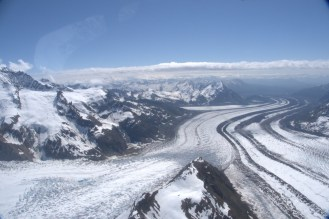 Gates and Kennicott Glacier coming together in the foreground, with Root Glacier in the background.