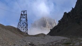 Tram towers leading to Jumbo Mine located under Castle Peak.