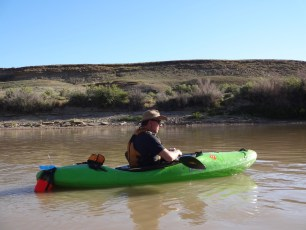 Jaz pilots the hardshell kayak