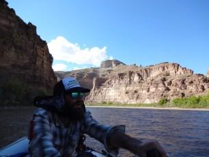 Pete pilots the oar boat